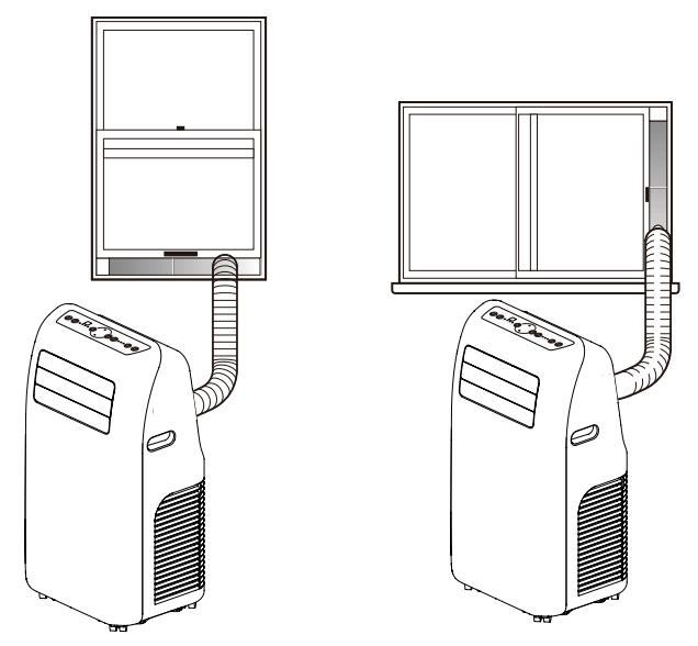Klimatyzator przenośny podłączony przez panel okna