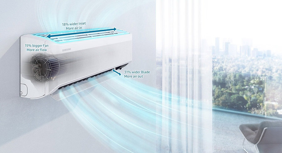 Fast Cooling w Samsung Wind-Free™ COMFORT 3,5 kW