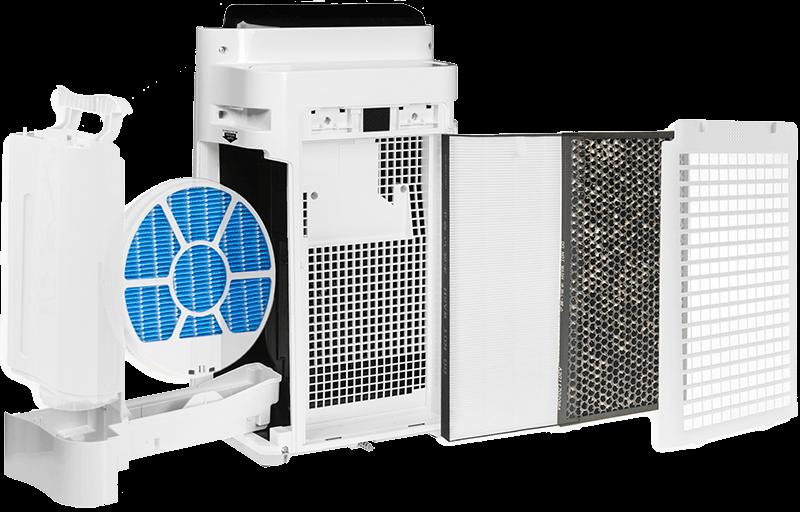 Sharp-KC-D40EUW filtracja, widok na wnętrze