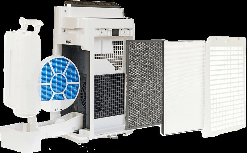 Sharp-KC-D60EUW filtracja, widok na wnętrze