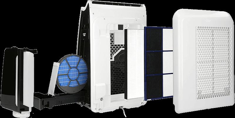 Sharp KI-G75EUW filtracja, widok na wnętrze